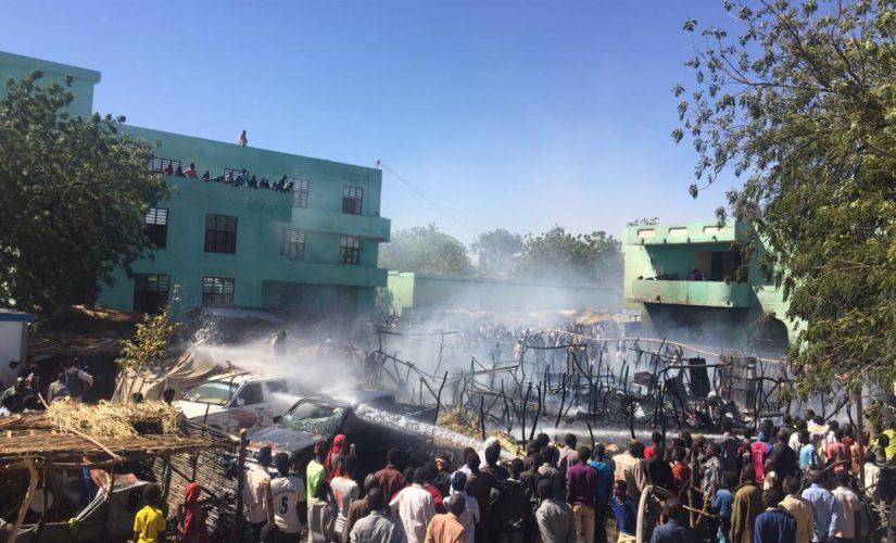 السيطرة على حريق شب بمركز إيواء النازحين بغرب دارفور