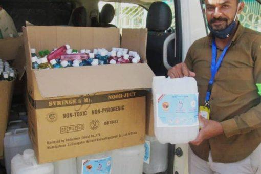 5 ألف قارورة معقم من منظمة (كلنا قيم) للصحة بالجزيرة