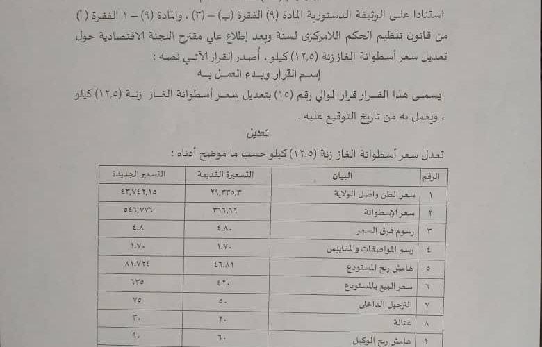 والي النيل الأزرق يصدر قرارا بتحديد أسعار اسطوانة الغاز