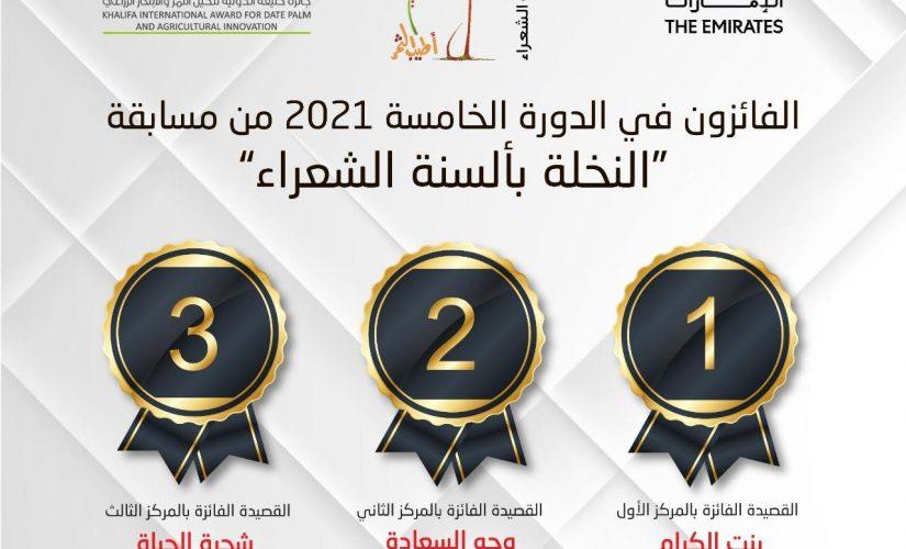 إعلان الفائزين بمسابقةالنخلة بألسنة الشعراء2021م