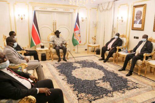 رئيس جمهورية جنوب السودان يلتقي وفد الحكومة لمفاوضات السلام بجوبا