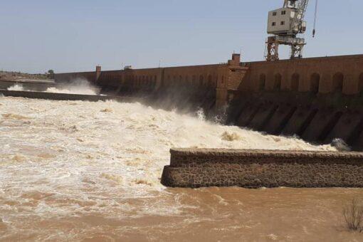 انخفاض منسوب مياه النيل الأزرق بمدينة سنجة.